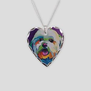 Dash the Pop Art Dog Necklace Heart Charm
