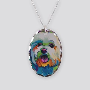 Dash the Pop Art Dog Necklace Oval Charm