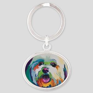 Dash the Pop Art Dog Oval Keychain