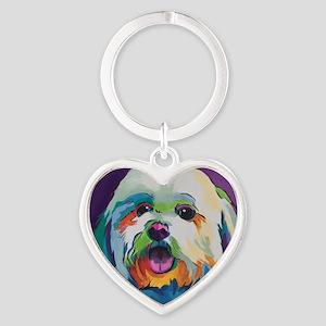 Dash the Pop Art Dog Heart Keychain