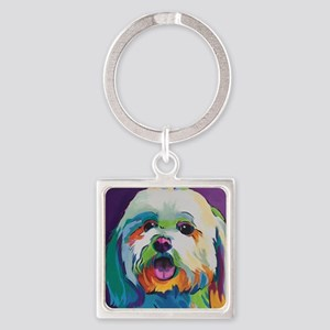 Dash the Pop Art Dog Square Keychain
