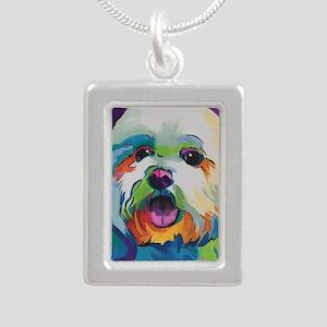 Dash the Pop Art Dog Silver Portrait Necklace