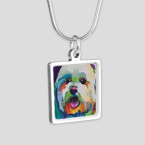 Dash the Pop Art Dog Silver Square Necklace