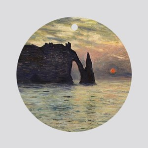 Claude Monet, Cliff Etretat Sunset Round Ornament