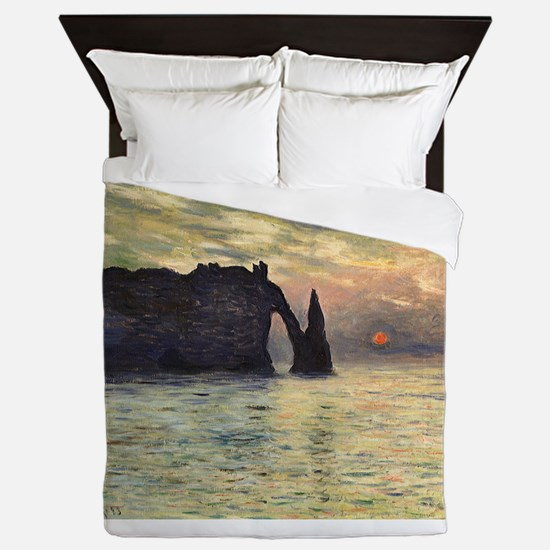 Claude Monet, Cliff Etretat Sunset Queen Duvet