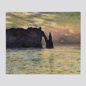 Claude Monet, Cliff Etretat Sunset Throw Blanket