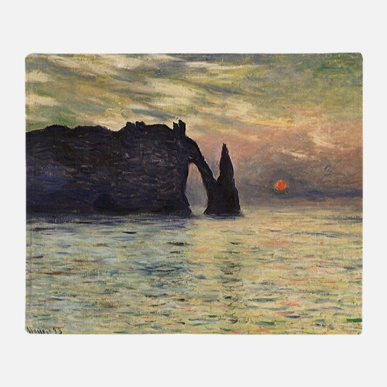 Claude Monet, Cliff Etretat Sunset Throw Blanket