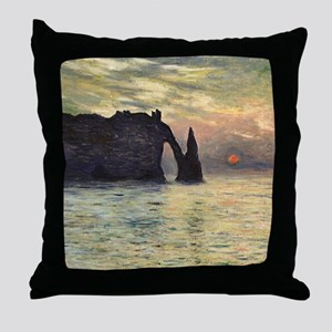 Claude Monet, Cliff Etretat Sunset Throw Pillow