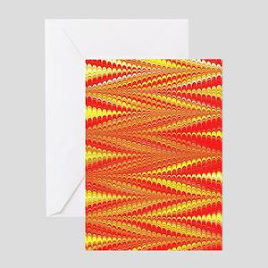 Zigzag Bright Orange Greeting Cards