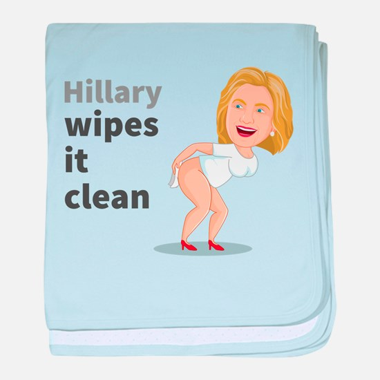 Hillary Wipes It Clean baby blanket