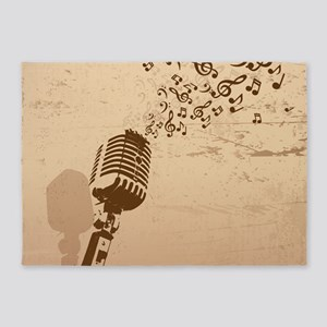 Vintage Microphone Music Notes 5'x7'Area Rug