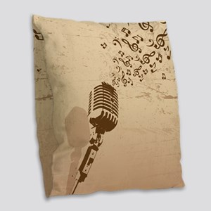 Vintage Microphone Music Notes Burlap Throw Pillow