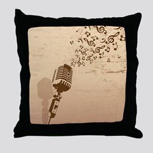 Vintage Microphone Music Notes Throw Pillow