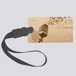 Vintage Microphone Music Notes Large Luggage Tag
