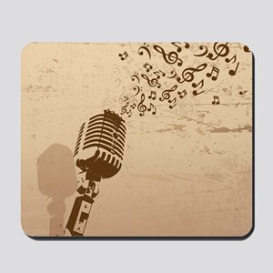 Vintage Microphone Music Notes Mousepad