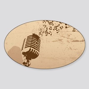 Vintage Microphone Music Notes Sticker (Oval)
