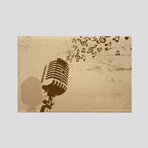 Vintage Microphone Music Notes Rectangle Magnet