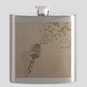 Vintage Microphone Music Notes Flask