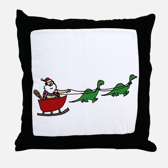Funny Caveman Santa Throw Pillow