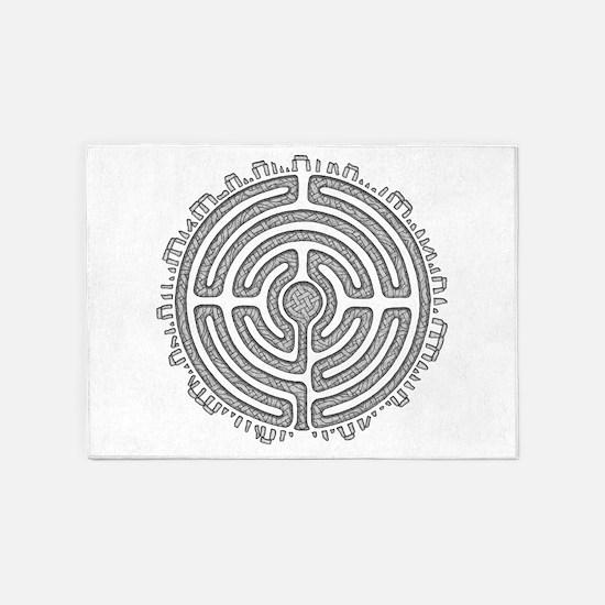 Celtic Labyrinth Mandala 5'x7'Area Rug