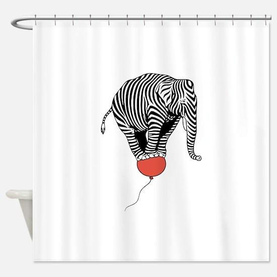 Flying Elephant Zebra Shower Curtain