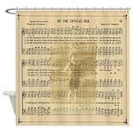 Vintage Sheet Music Seashore Shower Curtain