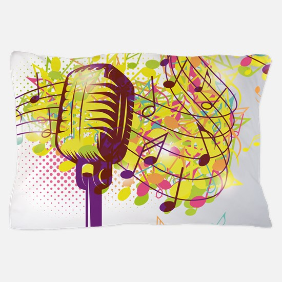 Colorful Retro Microphone Music Notes Pillow Case
