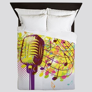 Colorful Retro Microphone Music Notes Queen Duvet