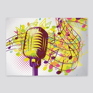 Colorful Retro Microphone Music Not 5'x7'Area Rug