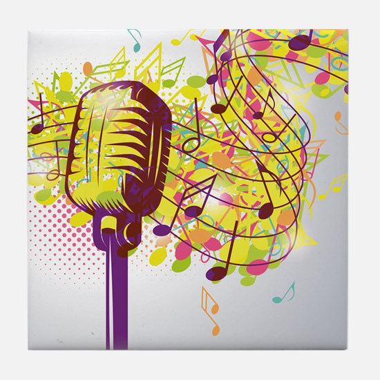 Colorful Retro Microphone Music Notes Tile Coaster