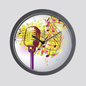 Colorful Retro Microphone Music Notes Wall Clock