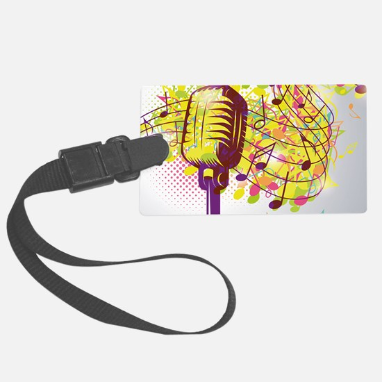 Colorful Retro Microphone Music Luggage Tag