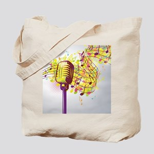Colorful Retro Microphone Music Notes Tote Bag