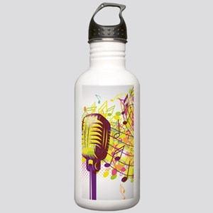 Colorful Retro Microph Stainless Water Bottle 1.0L