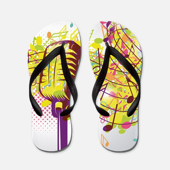 Colorful Retro Microphone Music Notes Flip Flops