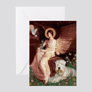 Seated Angel & Wheaten Greeting Card