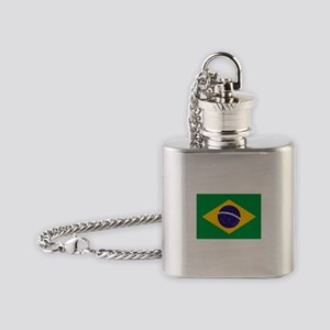 Brazilian Brazil Flag Flask Necklace