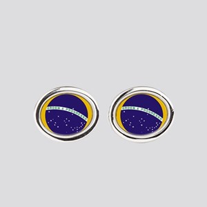Brazilian Brazil Flag Oval Cufflinks