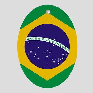 Brazilian Brazil Flag Oval Ornament