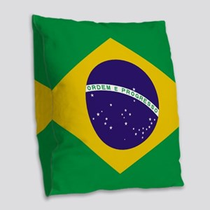 Brazilian Brazil Flag Burlap Throw Pillow