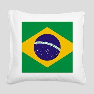 Brazilian Brazil Flag Square Canvas Pillow
