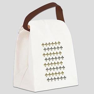 Fleur De Lis Flock Canvas Lunch Bag