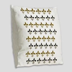 Fleur De Lis Flock Burlap Throw Pillow