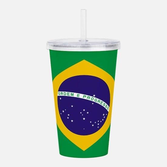 Brazilian Brazil Flag Acrylic Double-wall Tumbler