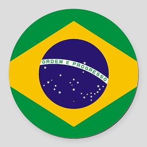 Brazilian Brazil Flag Round Car Magnet