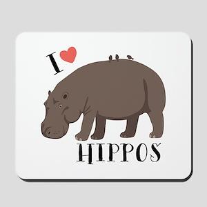 I Love Hippos Mousepad