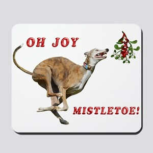Greyhound Running to Mistletoe Mousepad