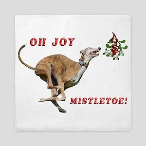 Greyhound Running to Mistletoe Queen Duvet