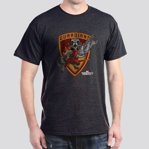 GOTG Animated Rocket Badge Dark T-Shirt