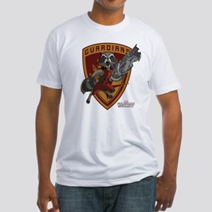 GOTG Animated Rocket Badge Fitted T-Shirt